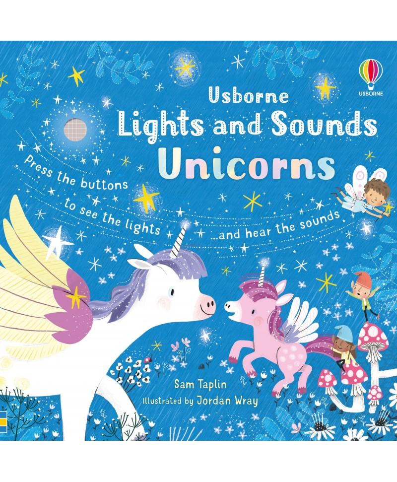 Carte cu sunete si luminite cu unicorni Lights and Sounds Unicorns Usborne