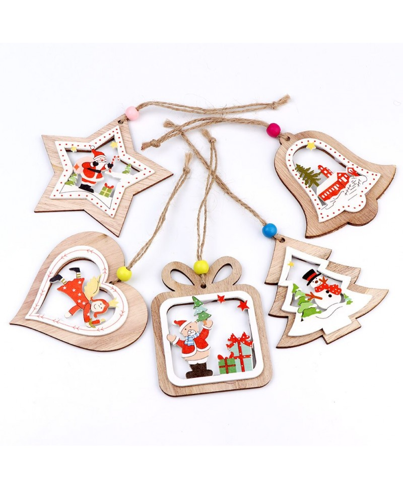 Set de 5 Ornamente de Crăciun, din lemn