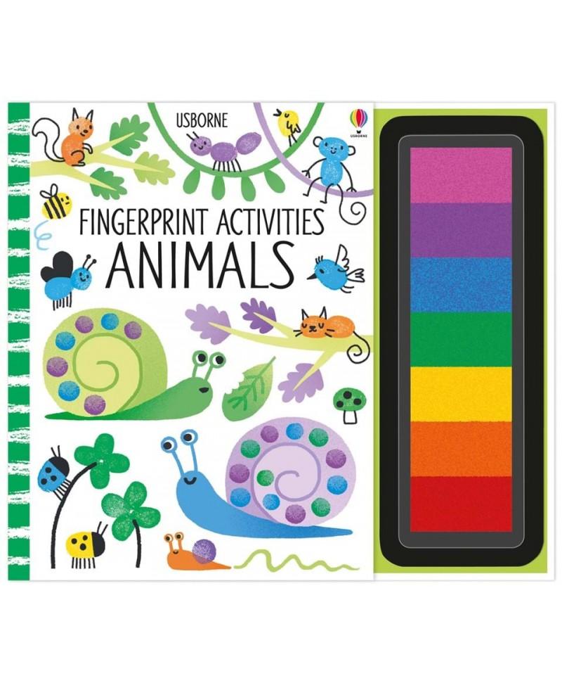 Carte de pictat cu degetelele Fingerprint Activities Animals