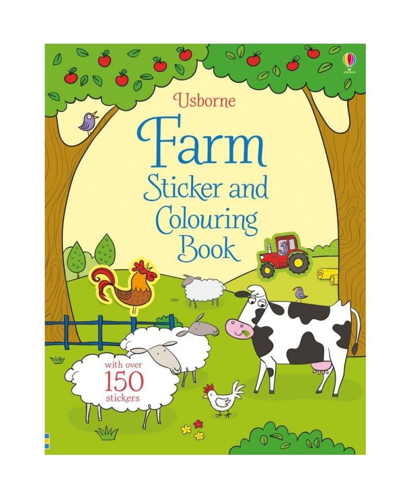 Carte de colorat cu stickere Farm sticker and colouring book