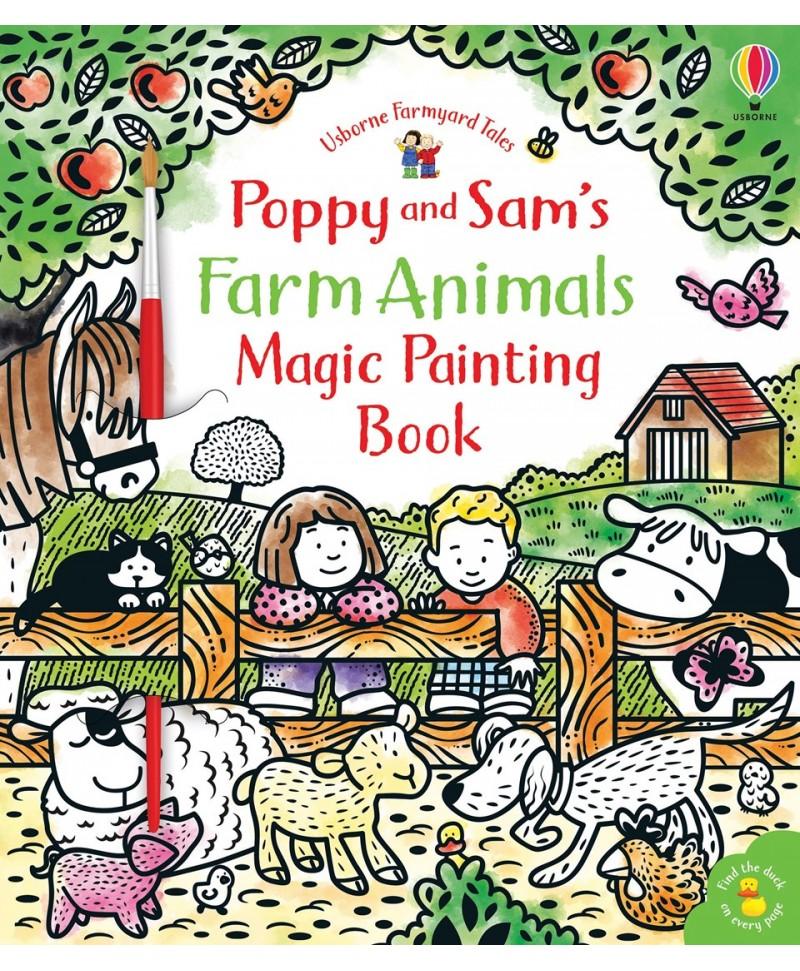 Carte cu pictură magică Poppy and Sam's Farm Animals magic painting book