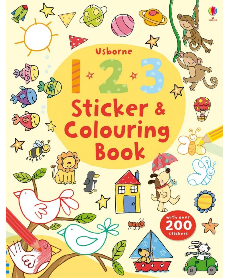 Carte de colorat și cu stickere - 1 2 3 Sticker and Colouring Book Usborne