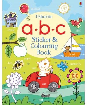 Carte de colorat și cu stickere - a b c Sticker and Colouring Book Usborne