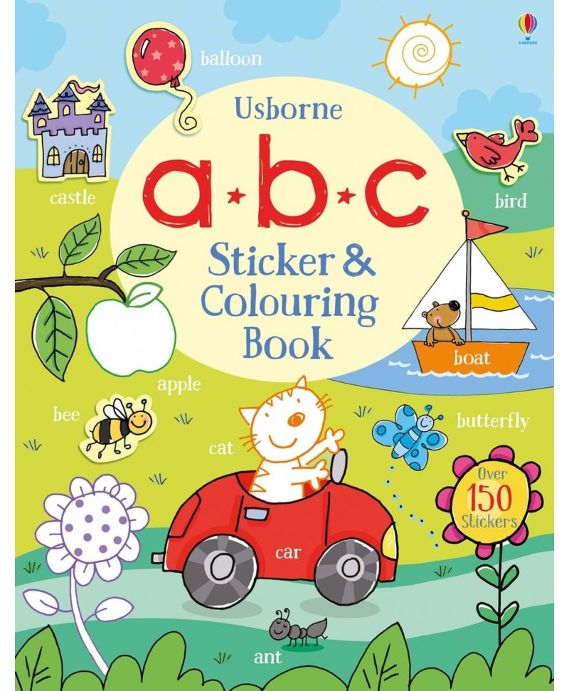 Carte de colorat și cu stickere - a b c Sticker and Colouring Book Usborne