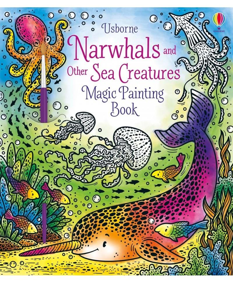 Carte cu pictură magică cu balene si alte creaturi marine  Magic Painting Narwhals
